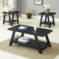 Roundhill Furniture OS3372 Athens, Coffee Table Set, Black