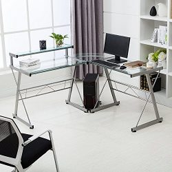 Mecor L-Shape Corner Computer Desk Glass Laptop Table Workstation Home Office Furniture(Clear)