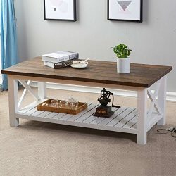 HPMM Wood Rustic Coffee Table, Farmhouse Vintage Cocktail Table with Shelf for Living Room, Whit ...