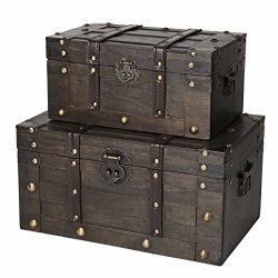 SLPR Alexander Wooden Trunk Chest with Straps (Set of 2, Rustic Brown) | Decorative Treasure Sta ...