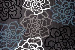 Rugshop Contemporary Modern Floral Flowers Area Rug, 2′ x 3′, Gray