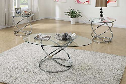 3PCS Modern Glass Top Coffee End Table Set with Spinning Circles Base Design