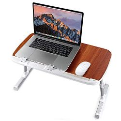 TaoTronics Foldable Laptop Table Stand, Height Adjustable Laptop Desk for Bed Couch and Sofa, Po ...