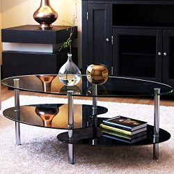 Ryan Rove Orion 38 Inch Modern Oval Two Tier Clear and Black Glass Coffee Table – Clear To ...