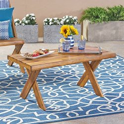 Great Deal Furniture Irene Outdoor Acacia Wood Coffee Table, Teak