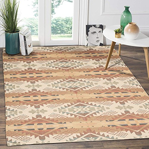 HEBE Cotton Area Rug 4'x6′ Large Hand Woven Multi Color Striped Cotton Area Rag Rug  ...