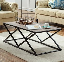 O&K Furniture Industrial Coffee Table for Living Room, Modern Cocktail Table With X Metal Le ...