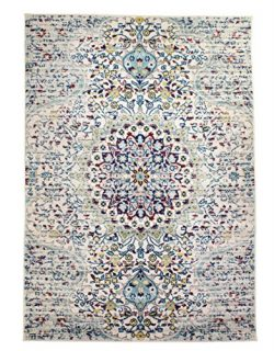 Super Area Rugs 3 x 5 Modern/Traditional Vintage Distressed Area Rug for Living Rooms and Open S ...