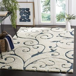 Safavieh Florida Shag Collection SG455-1165 Scrolling Vine Cream and Blue Graceful Swirl Square  ...