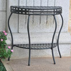 International Caravan Santa Fe Iron Patio Console Table in Black