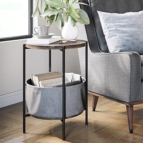 Nathan James 32201 Oraa Round Wood Storage, Side Table, Nutmeg