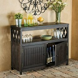 Outdoor Rustic Espresso Brown Finish Eucalyptus Wood Buffet Server Cabinet Storage Console Table ...