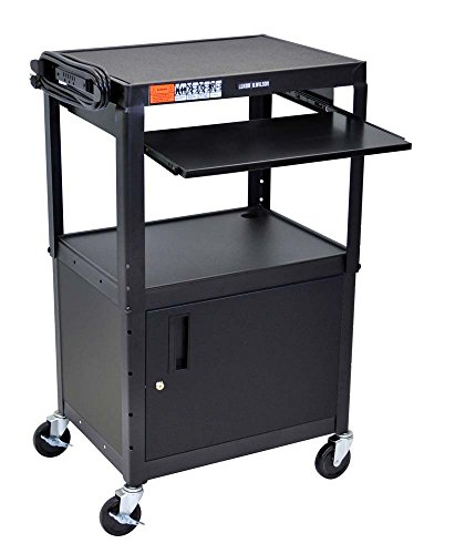 Luxor Mobile Adjustable Multipurpose Steel Storage AV Cart with Cabinet, Pullout Keyboard Tray & ...