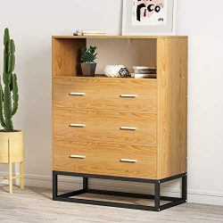 3-Drawer Dresser, LITTLE TREE Tall Accent Chest with Open Storage, Works as File Cabinet & C ...