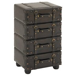 Urban Designs Hamilton Wood and Leather Side Chest, Brown