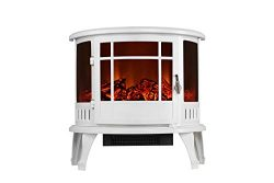 3G Plus Electric Fireplace Heater Free Standing Log Fuel Effect Adjustable Flame Brightness-White