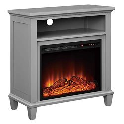 Novogratz DE26036 Lytton Electric Fireplace 32″, Gray Accent Table TV Stand