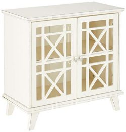 WE Furniture AZ32FWAWH Laser Cut Accent Table, 32″, Antique White