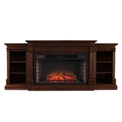 Southern Enterprises Rider Widescreen Electric Fireplace with Bookcase, Espresso Finish