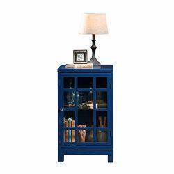 Sauder 420140 Display Cabinet, L: 17.91″ x W: 15.75″ x H: 27.56″, Indigo Blue  ...