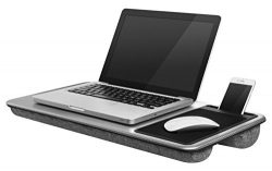 LapGear Home Office Lap Desk – Silver Carbon (Fits up to 17″ Laptop)