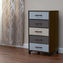 Household Essentials 8015-1 Wooden 5 Drawer Dresser | Storage Night Stand | Mahoganey