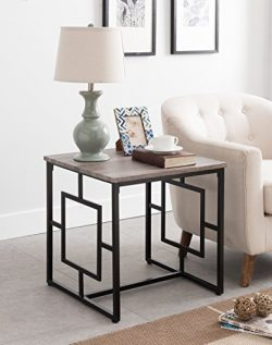 Weathered Grey Oak / Black Frame Square Design Side End Table 22″H