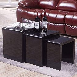 Mecor Nesting Coffee Table Set, 3 Piece Glass Top Coffee Side End Table W/High Gloss Black Livin ...