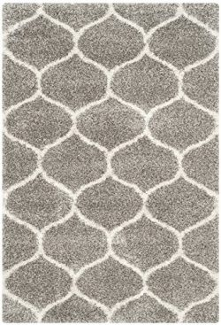 Safavieh Hudson Shag Collection SGH280B Grey and Ivory Moroccan Ogee Plush Area Rug (5'1&# ...