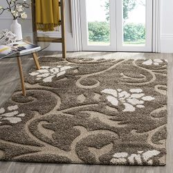 Safavieh Florida Shag Collection SG464-7913 Smoke and Beige Area Rug (5'3″ x 7&#8217 ...