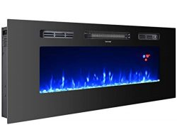 3GPlus 40″ Electric Fireplace Wall Recessed Heater Crystal Stone Flame Effect 3 Changeable ...