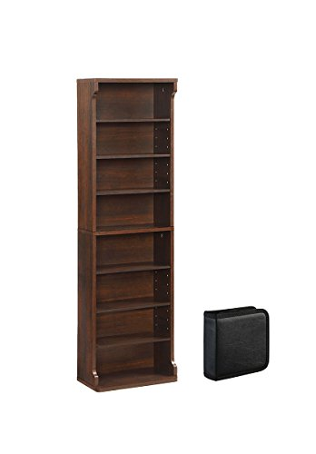 AIMHOME Western Multimedia Storage Organization Cabinet with 1 CD Wallet (40 Capacity), Deep Walnut