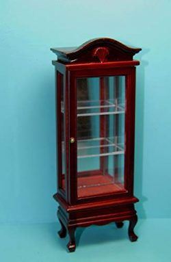 Dollhouse & Miniature Curio/China Cabinet with Mirror in Mahogany ~ T3304
