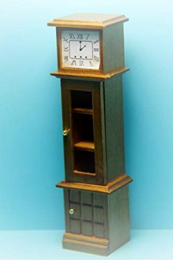 Dollhouse Grandfather Clock Curio Cabinet in Honey Walnut KL1543 – Miniature Scene Supplie ...