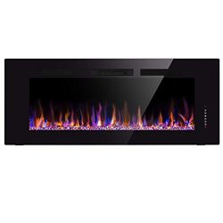 Xbeauty 60″ Electric Fireplace In-Wall Recessed Wall Mounted 1500W Fireplace Heater Linear ...