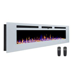 3GPlus 60″ Electric Fireplace Wall Recessed Heater Crystal Stone Flame Effect 3 Changeable ...