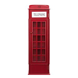 Southern Enterprises AMZ1367ZH Phone Booth Storage Cabinet, Red