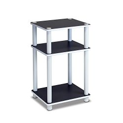 Furinno 11087 Just 3-Tier No Tools Dual Color Reversible End Table, White/Espresso