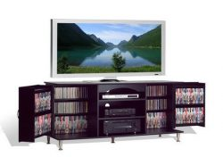 Broadway Black Large Flat Screen Plasma or LCD TV Stand Media Storage Cabinet Entertainment Cent ...