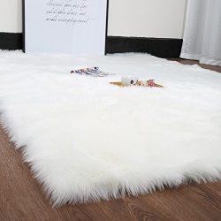 HUAHOO White Faux Sheepskin Area Rug Chair Cover Seat Pad Plain Shaggy Area Rugs for Bedroom Sof ...