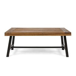 Christopher Knight Home 304571 Carlisle Outdoor Acacia Wood Coffee Table, Sandblast Finish/Rusti ...