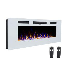 3GPlus 42″ Electric Fireplace Wall Recessed Heater Crystal Stone Flame Effect 3 Changeable ...