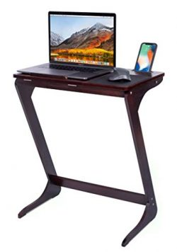 Sofia + Sam Sofa Side Table TV Tray with Tablet and Phone Slots | Wooden Z Legs | Couch Console  ...