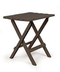 Camco 51886 Mocha Large Adirondack Portable Outdoor Folding Side Table, Perfect for the Beach, C ...