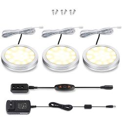 LED Cabinet Puck Lights Dimmable – Moobibear 2W 510lm Under Cabinet Lighting Kit with 10 L ...