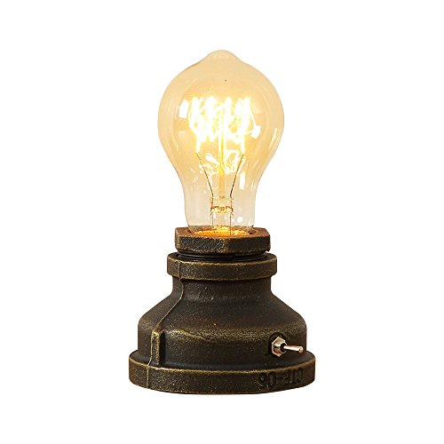 INJUICY Vintage Table Lamps, Steampunk Desk Lamp Base with Switch for Bedside, Bedroom Living, D ...