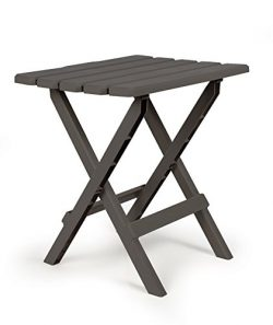 Camco 51885 Charcoal Large Adirondack Portable Outdoor Folding Side Table, Perfect for The Beach ...