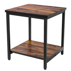 Homemaxs End Table, 2 Tier Side Table Storage Shelf Adjustable Table Leg, Rustic Night Stand Sma ...