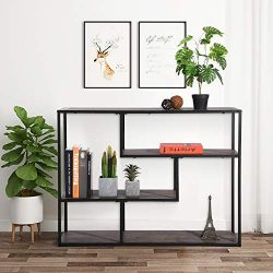 Vintage Dark Brown Finish/Metal Frame 4-tier Console Sofa Table Bookcase Bookshelf