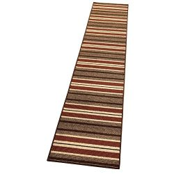 Collections Etc Stripe Berber 10-Ft Long High Traffic Skid-Resistant Floor Runner Rug, Brown, 20 ...